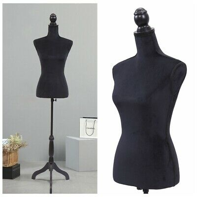 Black Female Mannequin Torso Dress Clothing Form Display Wtripod Stand