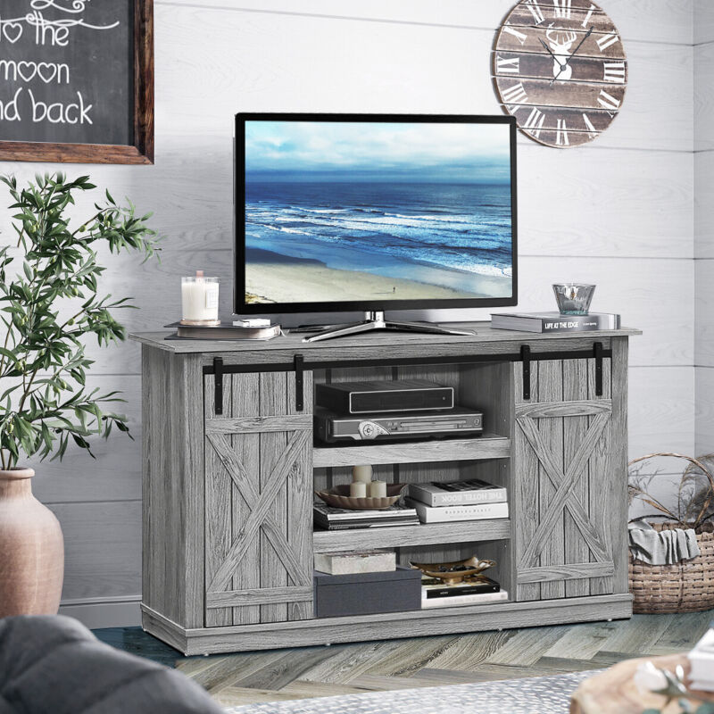 """Sliding Barn Door TV Stand for TVs Up to 60""""Console Table w/Storage Shelf Grey"""