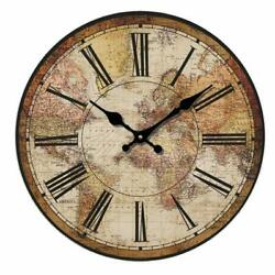Wall Clock 14 World Map Travel Antique Vintage Style Shabby Chic Farmhouse