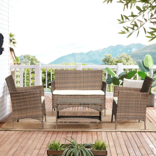 Garden Furniture - 4x Outdoor Garden Rattan Set Patio Wicker Sofa Furniture W/Storage Table&Cushion