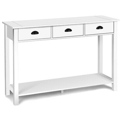 """47"""" Console Table Hall Table Side Desk Accent Table Drawers Shelves Home White"""