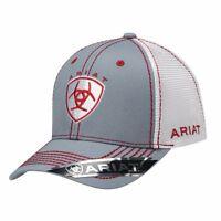 a54eab0d5dcdf Ariat Western Mens Hat Baseball Cap Mesh Center Shield Logo One Size Red  1594106