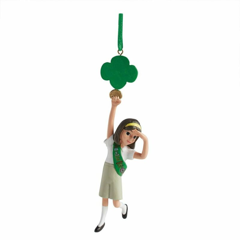 Junior Holding Trefoil Girl Scout Ornament Holiday Christmas