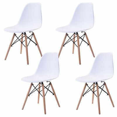 Set of 4 Mid Century Up to date Eames Style DSW Dining Side Chair Wood Leg in White