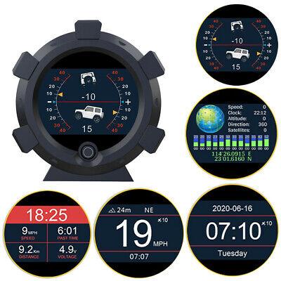 Universal GPS Slope Meter KM/H MPH Speed Warning LCD Clock Speedometer Gauge