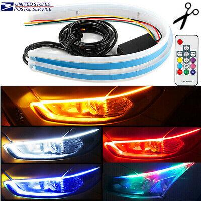 RGB 60CM LED Car DRL Daytime Running Turn Signal Lamp Strip Light Flexible Tube