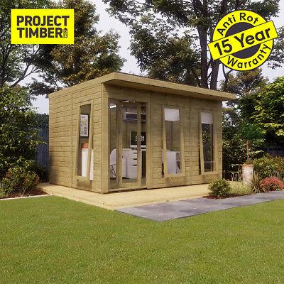 12 x 10 Pressure Treated Pent Summerhouse Garden Office with Bi-Fold Door