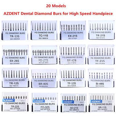 20 Models Dental Diamond Burs Drills For High Speed Handpiece Azdent 10pcskit