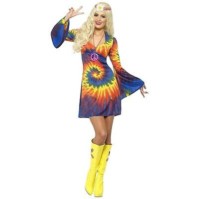 Hippie Costume Adult 60s-70s Tie Dye Halloween Fancy Dress Outfit - 70's Hippies Outfits