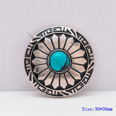 """10X Turquoise Floral Moon Scalloped Carved Leathercraft Cowboy Saddle Concho 1/"""""""