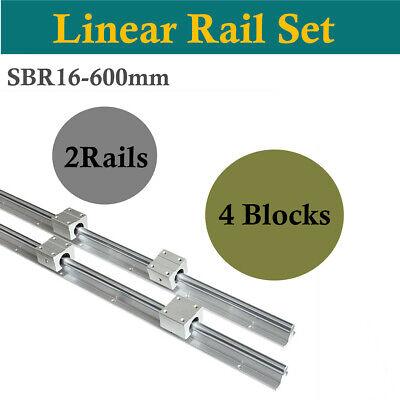 2pcs Sbr16 600mm Linear Slide Rail Guide Shaft Rod 4pcs Sbr16uu Bearing Blocks