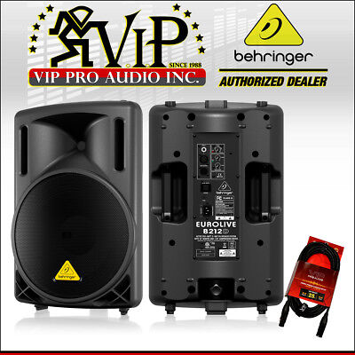 "Behringer B212D Active 12"" Class-D 550 Watt Amplified Live Sound Speaker + Cable"