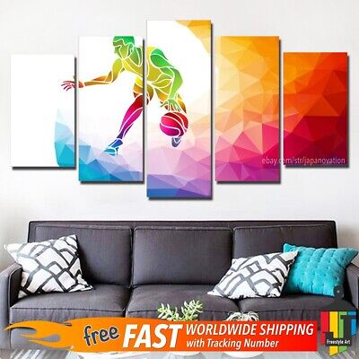 5 Pieces Wall Art Canvas Decor Print Abstract Painting Sports Basketball (Abstract Musician Wall Art)