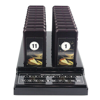 Guest Queuing Paging Calling System 20 Restaurant Pagers+1x Rufsenderstation DE