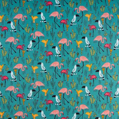 Baumwolljersey Jersey TROPICAL PARADISE Flamingo Kaktus türkis bunt 1,5m - Kaktus Kostüm