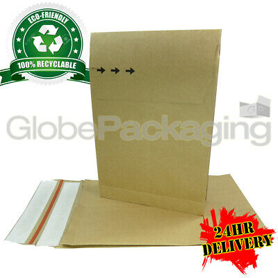 500 x STRONG ECO-FRIENDLY KRAFT POSTAL PAPER MAILING BAGS 229x324x40mm (9x12x2