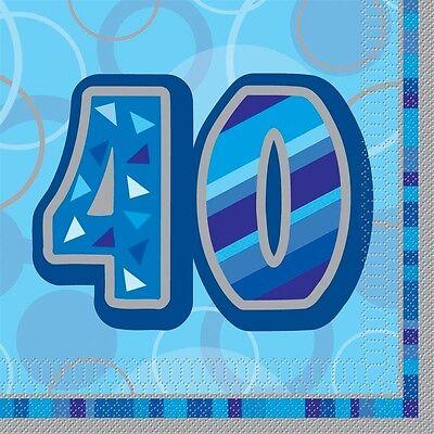 16 Happy 40th Birthday Blue Sparkle 6.5
