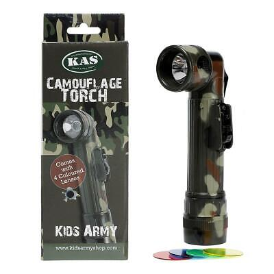 KAS Kids Army Angle Torch 4 Colour Lenses Filters Flashlight Boys Soldier Light