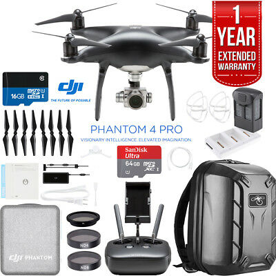 DJI Phantom 4 PRO Quadcopter Drone (Obsidian) + Battery Charging Hub  + Backpack