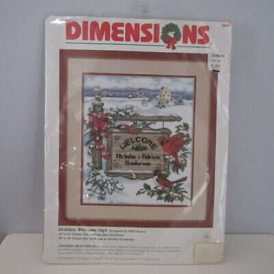 Dimensions Counted Cross Stitch Kit 8524 Holiday Welcome Sign No Instructions  Embroidery Stitches Instructions