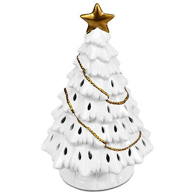"11"" Pre-Lit Ceramic Christmas Tree Hollow Tabletop Decor LED Lights White"