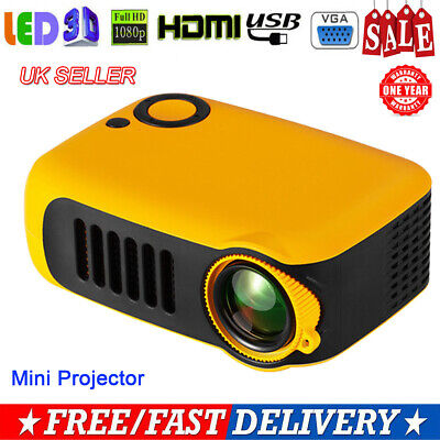 Mini Portable Pocket LED Projector 1080P HD Home Theater Cinema USB HDMI AV SD
