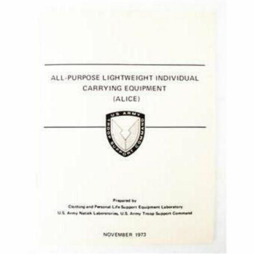 ALL PURPOSE LIGHTWEIGHT INDIVIDUAL CARRYING EQUIPMENT ALICE Manual Handbook Army