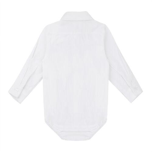 iEFiEL Baby Jungen Kurzarmbody mit Kragen Baumwolle Hemd-Body Shirt Festliche Kleidung Gentleman Outfits Taufe Hochzeit Party