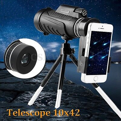 10x42 Zoom Monocular Travel Camping Telescope+Tripod+Phone Holder Night Vision