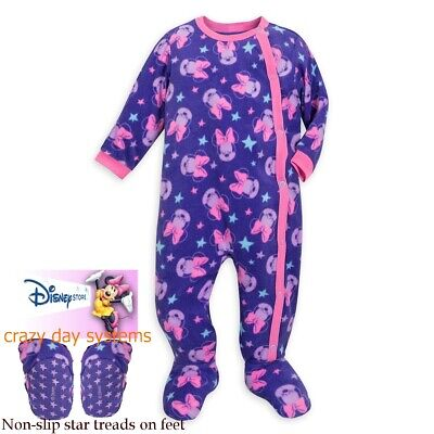 Disney Store Minnie Mouse Fleece Footed Snap Pajamas Baby 0 3 6 9 12 18 24 Month