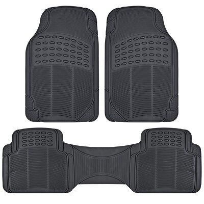 3pc Black All Weather Floor Mats Front  Rear Universal New Free Shipping USA