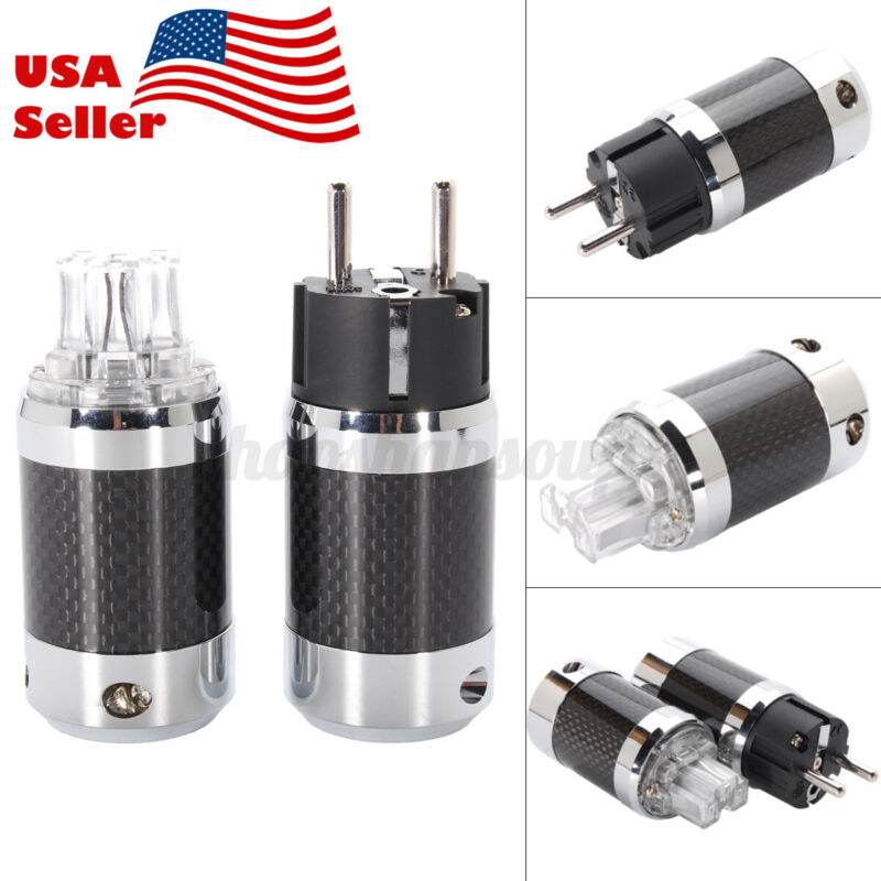 2pc Vanguard Carbon Fiber Shell Power Plug Adapter For Rhodium Power Audio  US