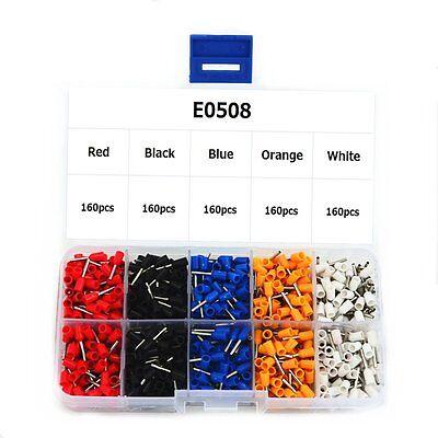 E0508 Wire Copper Crimp Connector Insulated Cord Pin End Terminal Kit Box 800pcs