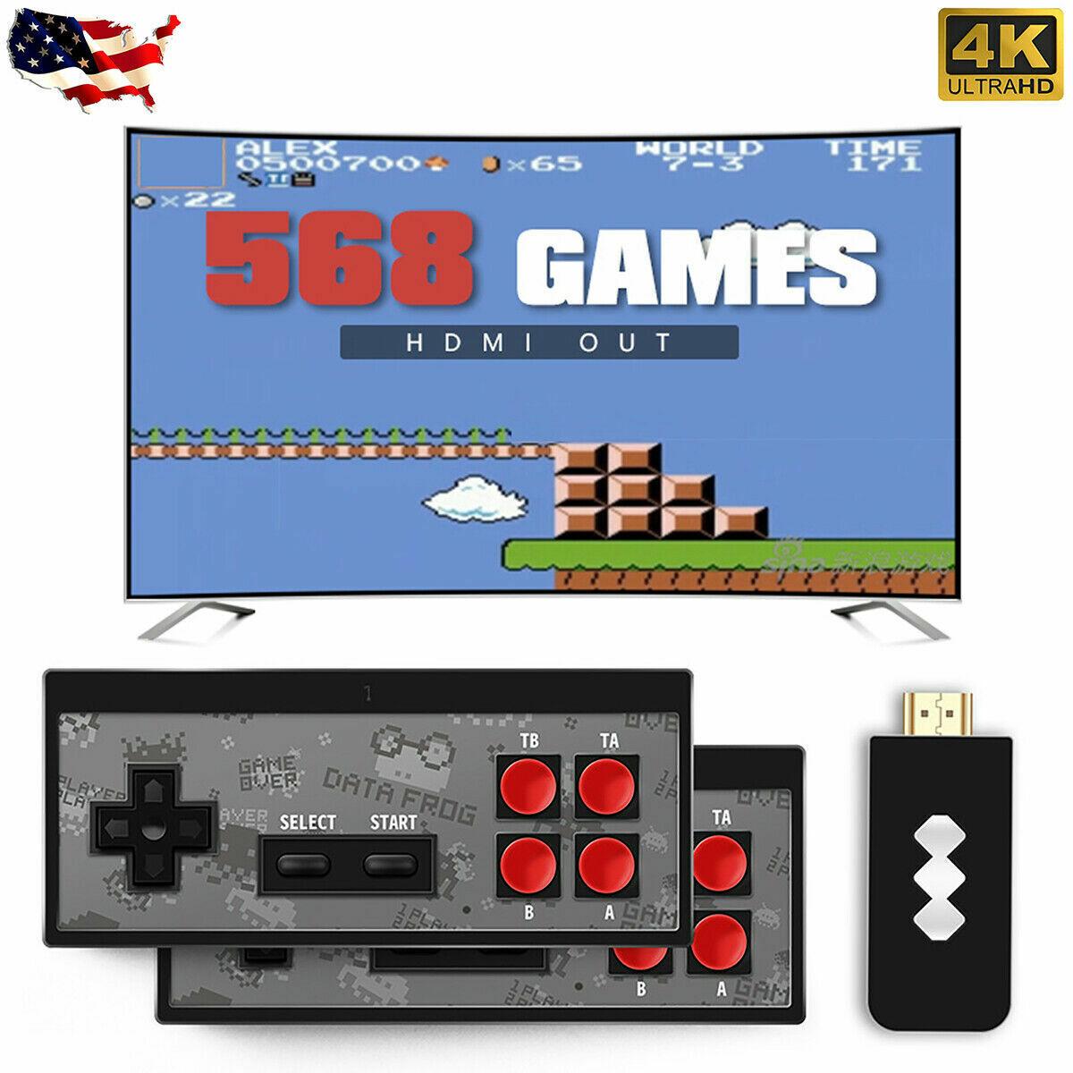 Retro Mini HDMI 4K TV Game Stick Console 568 Built-in Games 2× Wireless Gamepad