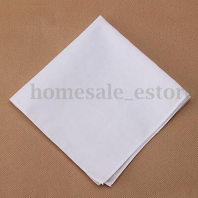 New 12Pcs Men Pocket Plain White Cotton Handkerchiefs Hankies Sweat Face Towel