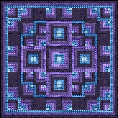 - Easy Quilt Kit/Shimmering Lights/Pre-cut Fabrics Ready2Sew/Blues/Purple/Queen**