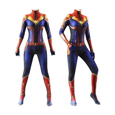 Girl Captain Costume (Captain Marvel Women Girls Costume Kids Cosplay Lycra Jumpsuit Party)