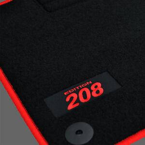 4 tapis sol moquette logo rouge specifique peugeot 208 feline gti allure active ebay. Black Bedroom Furniture Sets. Home Design Ideas