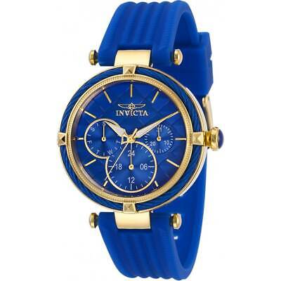 Invicta Women's Watch Bolt Yellow Gold Case Blue Dial Rubber Strap 28968