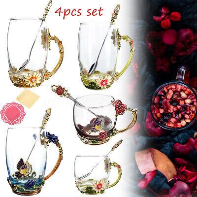 Enamel Glass Flower Tea Cup Coffee Mug Cups + Spoon Set Box Party Wedding Gift  ](Wedding Mugs)