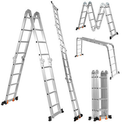 4.7M Aluminium Folding Ladder Step Ladder Multi-Purpose Extension Platform Bench