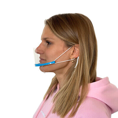 3er Set Visier Mund-Nasenbedeckung Kinn Gesichtsmaske Plexiglas Plastik Blau