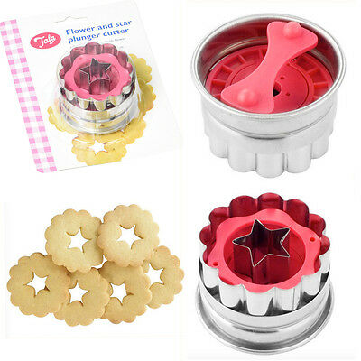 Star-Flower Cookie Cutters Plunger Quality TALA Stainless Bake Kitchen Mould New