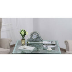TABLE DESK CLOCK MIRRORED MODERN ROMAN NUMERALS CRYSTALS & BEVELED GLASS CLASSIC