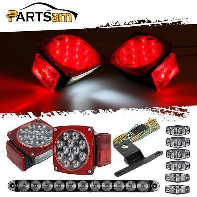 LED Trailer Boat Light Kit,Stop Turn Tail,Side Marker,brake Light bar Clear Lens