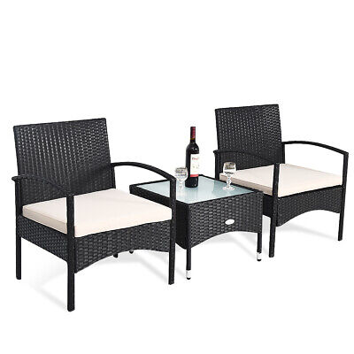3 PCS Patio Wicker Rattan Furniture Set Coffee Table & 2 Rattan Chair W/Cushion