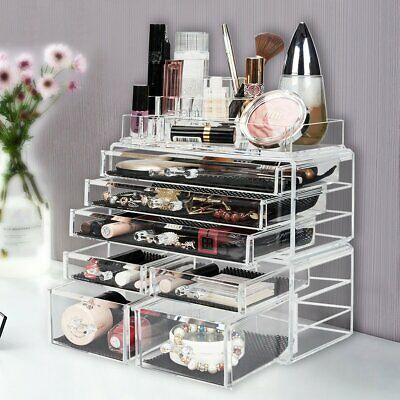 Acrylic Makeup Organizer Case Drawers Jewelry Storage Display Rack Holder BOX US