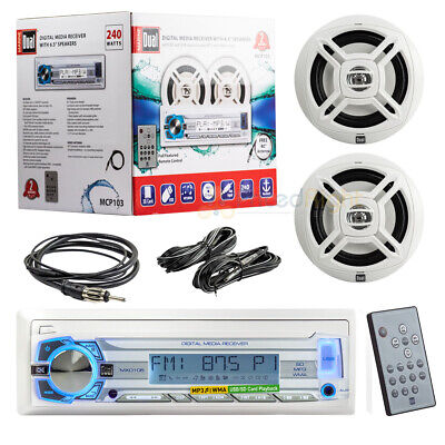 """Dual Marine Boat Mechless Radio Receiver Stereo Remote 6.5"""" Speakers AM FM Pack"""