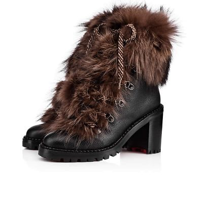 NIB Christian Louboutin Fanny 70 Black Brown Fur Leather Tie Heel Combat Boot 34