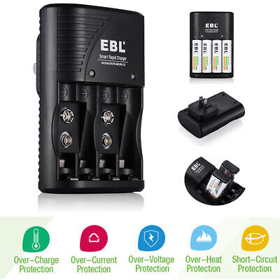 - EBL 4 Bay Smart Rapid Charger For AA AAA 9V NiMH NiCD Rechargeable Batteries USA